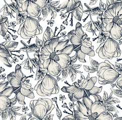 Classic pattern. Beautiful flowers dogrose, rosehip, rose, brier isolated realistic. Vintage background blooming flowers. Drawing, engraving. Freehand. Wallpaper. Vector victorian style Illustration.