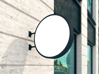 Hanging wall sign mockup, round billboard, stock image, classic building, 3d rendering
