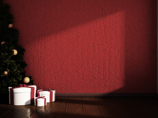 Christmas tree with gifts in the room, 3d
