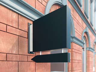 Hanging wall sign mockup, square billboard with arrow, stock image, classic building, 3d rendering