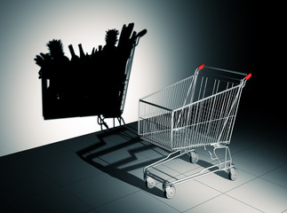 Empty Shopping Cart Cast Shadow On The Wall As Full Shopping Cart