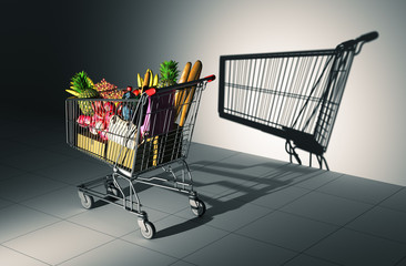Full Shopping Cart Cast Shadow On The Wall As Empty Shopping Cart