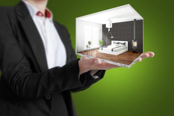 Concept modern interior. 3D rendering