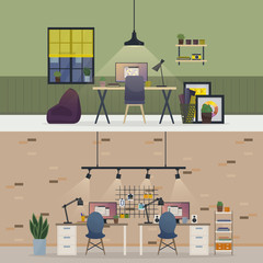 Basement office, flat or room workspace interior