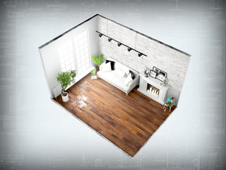 Interior without walls. 3D rendering