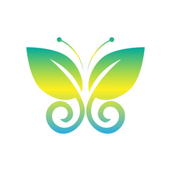 Eco icon green butterfly symbol. Vector illustration isolated on the light background. Fashion graphic design. Beauty concept. Vivid colors butterfly logo. Smooth shape. Plain flat style colors.
