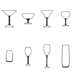 Glasses set. Vector illustration of different drinks and cocktails, isolated on white background. Sign pattern. Label for cocktail lounge. Design texture for bar or restaurant. Food and drink concept.