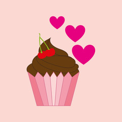 heart pink cartoon cupcake chocolate sweet icon design vector illustration