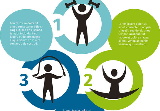 Health, Fitness, and Sports  Infographic with Circles and Pictogram Element