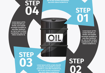 Circle Element Oil Energy Infographic with Barrel Icon 2