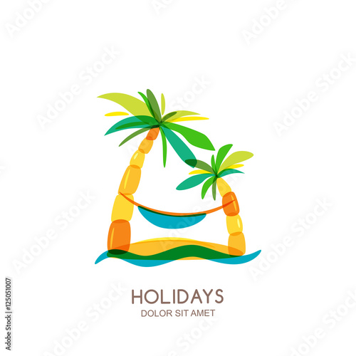 Vector Logo Design Template Abstract Colorful Island Palms And Hammock On Seaside Concept