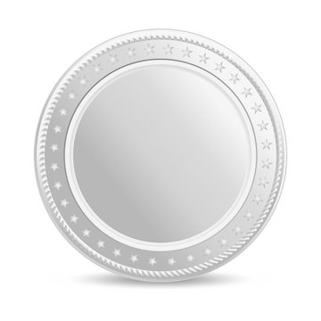 Realistic silver coin. Blank coin with shadow. Front view.