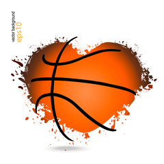 Vector object in the shape of a heart for basketball. Logo, symbol, can be used for posters, banners, web. Grunge style.