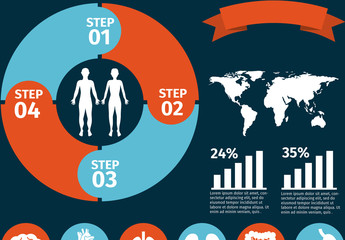 Physical Health Data by Location Infographic and Anatomical Icon Set 2