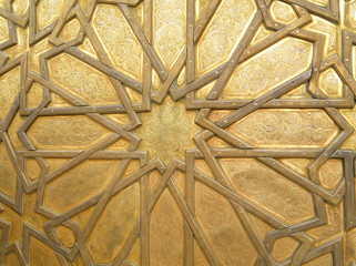 Stunning Arabian Pattern of the Royal Palace Brass Door in Fez, Morocco, For Background, Pattern
