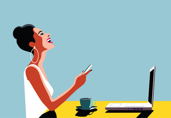 Happy Young Beautiful Woman Using Smartphone and Laptop, Indoors. Retro vintage illustration, pop art, vector illustration.