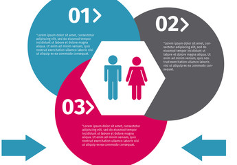 Data by Gender Infographic with Pictograms and Pie Charts