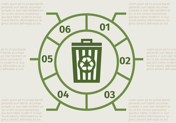 Outlined Wheel and Trash Bin Element Recycling Infographic