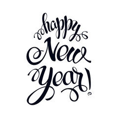 Happy New year 2017 sign on white background. Calligraphy text isolate on white. winter theme template. Vector
