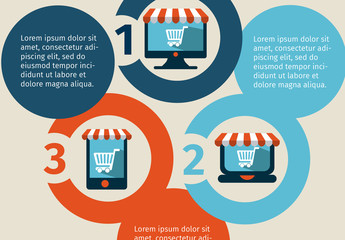 Online Shopping Data Infographic with Circle Element and Storefront Icons 1