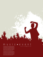 Music poster with dancing youth people