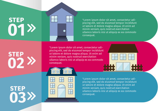 Real Estate Infographic with 3 Bold Tabs and House Icons