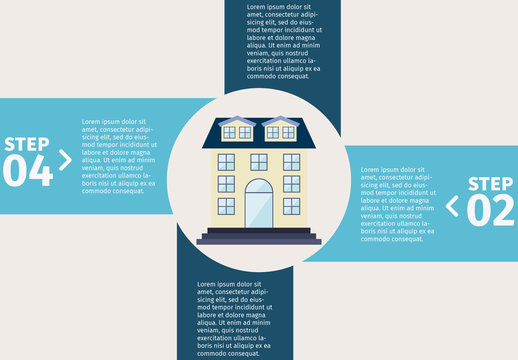 Pinwheel Tab Element Real Estate Infographic  with House Icon