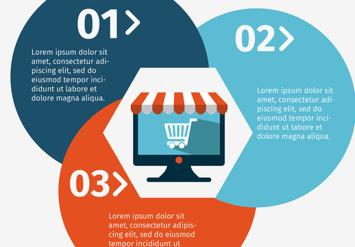 Online Shopping Data Infographic with Circle Element and Storefront Icons 2