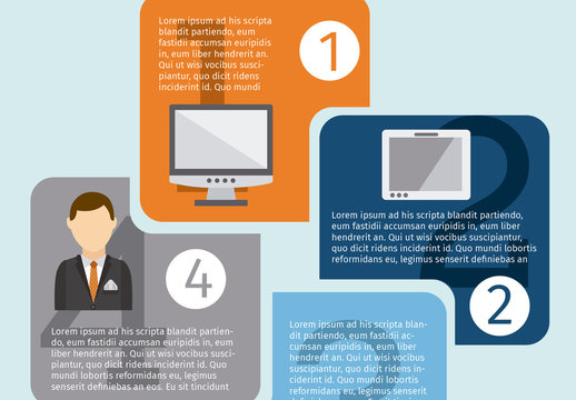 Square Tile Element Business Infographic with Tech Icons