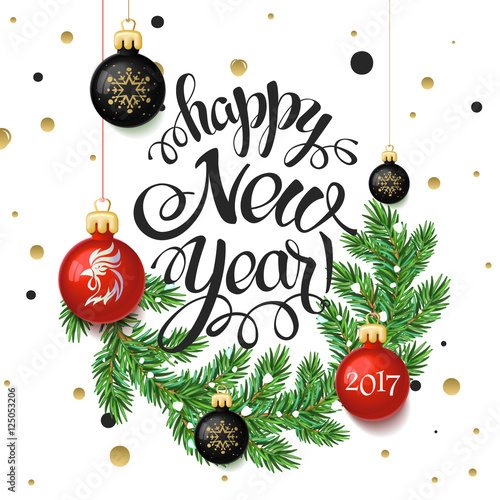 Happy New year 2017 poster card. Calligraphy text, on the white ...