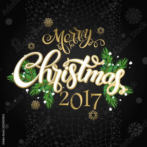 Merry Christmas And Happy New Year 2017 Vector Lettering On Black Background Whit Snowflake