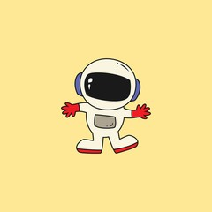 Astronaut in outer space concept vector illustration.