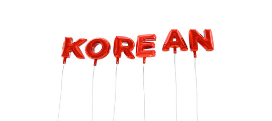 KOREAN - word made from red foil balloons - 3D rendered.  Can be used for an online banner ad or a print postcard.