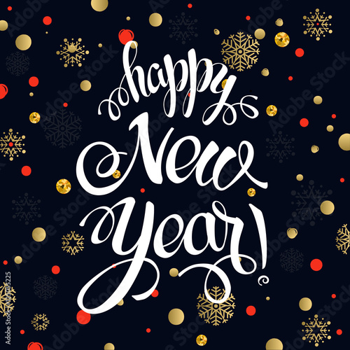 happy new year 2017 poster card calligraphy text on the black background with gold