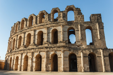 El Djem amphitheatre, the most impressive Roman remains in Africa. Mahdia, Tunisia.