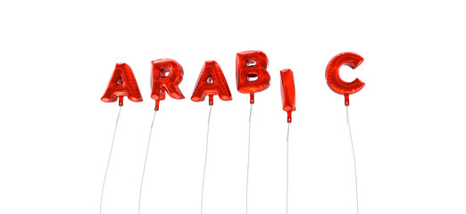 ARABIC - word made from red foil balloons - 3D rendered.  Can be used for an online banner ad or a print postcard.