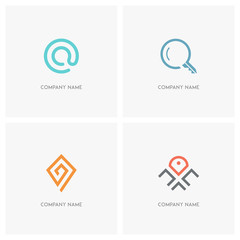 Address, email and search vector logo. Mail at sign, loupe, key and map pointer - contacts, realty and geo icons.