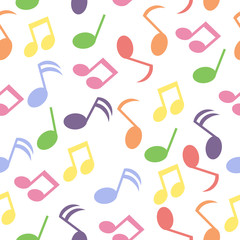 Seamless background with colorful music note on white background suitable for wallpaper, postcard, and scrap paper