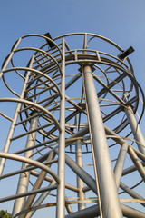 metal construction observation tower with stairs