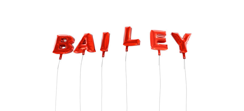 BAILEY - word made from red foil balloons - 3D rendered.  Can be used for an online banner ad or a print postcard.