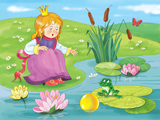 The Frog Prince. Fairy tale. A little cute princess is asking a frog to catch her golden ball from the pond. Illustration for children. Coloring book. Coloring page. Cartoon character