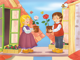 The Snow Queen. Fairy tale. Cute girl and boy living in the attic are holding pots with white and red roses. Illustration for children. Coloring book. Cartoon character. Andersen