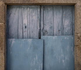 Old wooden painted gate background