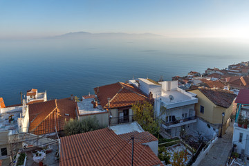 Seascape with Old town of city of Kavala and panorama to Aegean sea, East Macedonia and Thrace, Greece