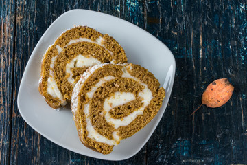 Spiced Pumpkin Rum Roll Cake Slices