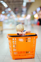 Toddler boy with shopping cart in a food store or a supermarket
