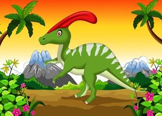 Dinosaur Parasaurolophus cartoon in the jungle