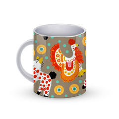 Coffee cup template illustration with Beautiful seamless pattern  cock and horse in Russian Dymkovo style. Vector .