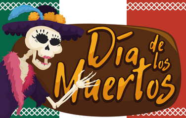 "Festive Catrina Skeleton Saluting at You in ""Dia de Muertos"", Vector Illustration"