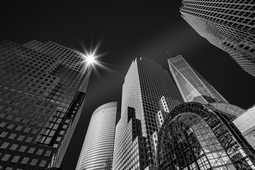 Fototapete - New York City skyscrapers - fine art black and white photograph.